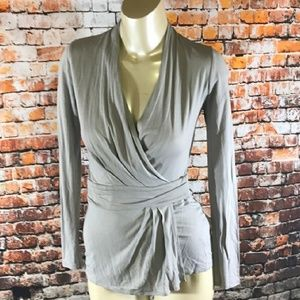 All Saints Nova wrap gray top
